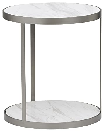Rivet Molly Round Marble and Stainless Steel Side End Table