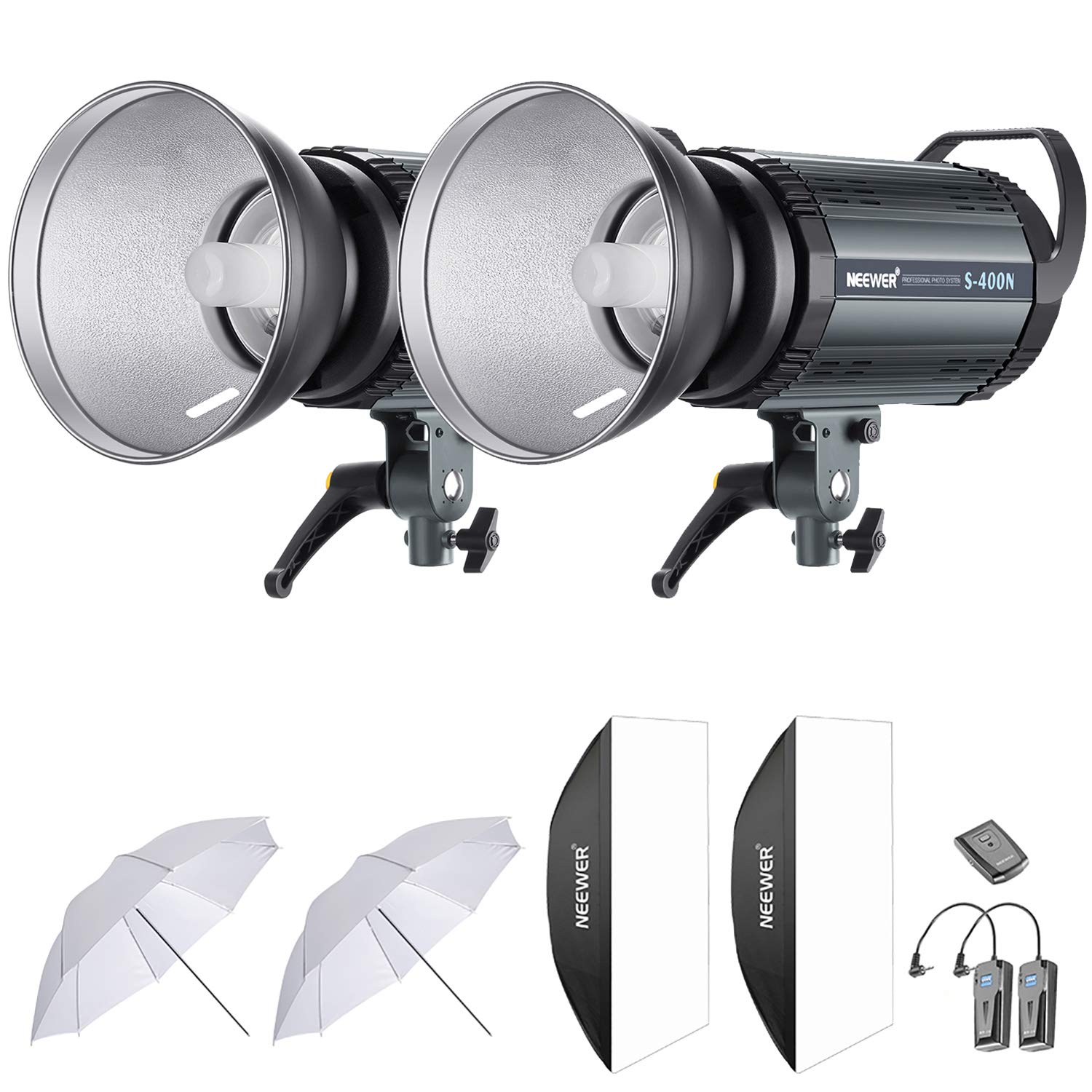 Neewer 800W Studio Strobe Flash Photography Lighting Kit:(2)400W Monolight,(2) Reflector Diffuser,(2) Softbox,(2)33 Inches Umbrella,(1) RT-16 Wireless Trigger for Shooting Bowens Mount(S-400N) by Neewer