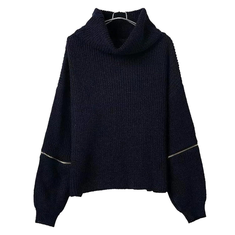 Womens Zipper Long Sleeve Blouse Tops Turtleneck Fashion Winter Knit Sweater New