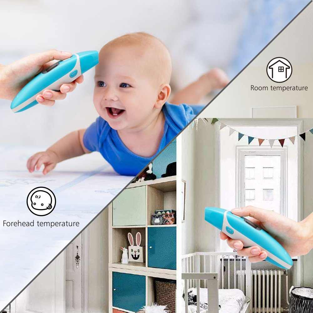 Ear and Forehead Thermometer Medical Baby Thermometer, Professional Precision Infrared Digital Thermometer, 1 Second Measurement Time Memory Recall and Fever Warning,Blue Gloridea by Gloridea (Image #6)
