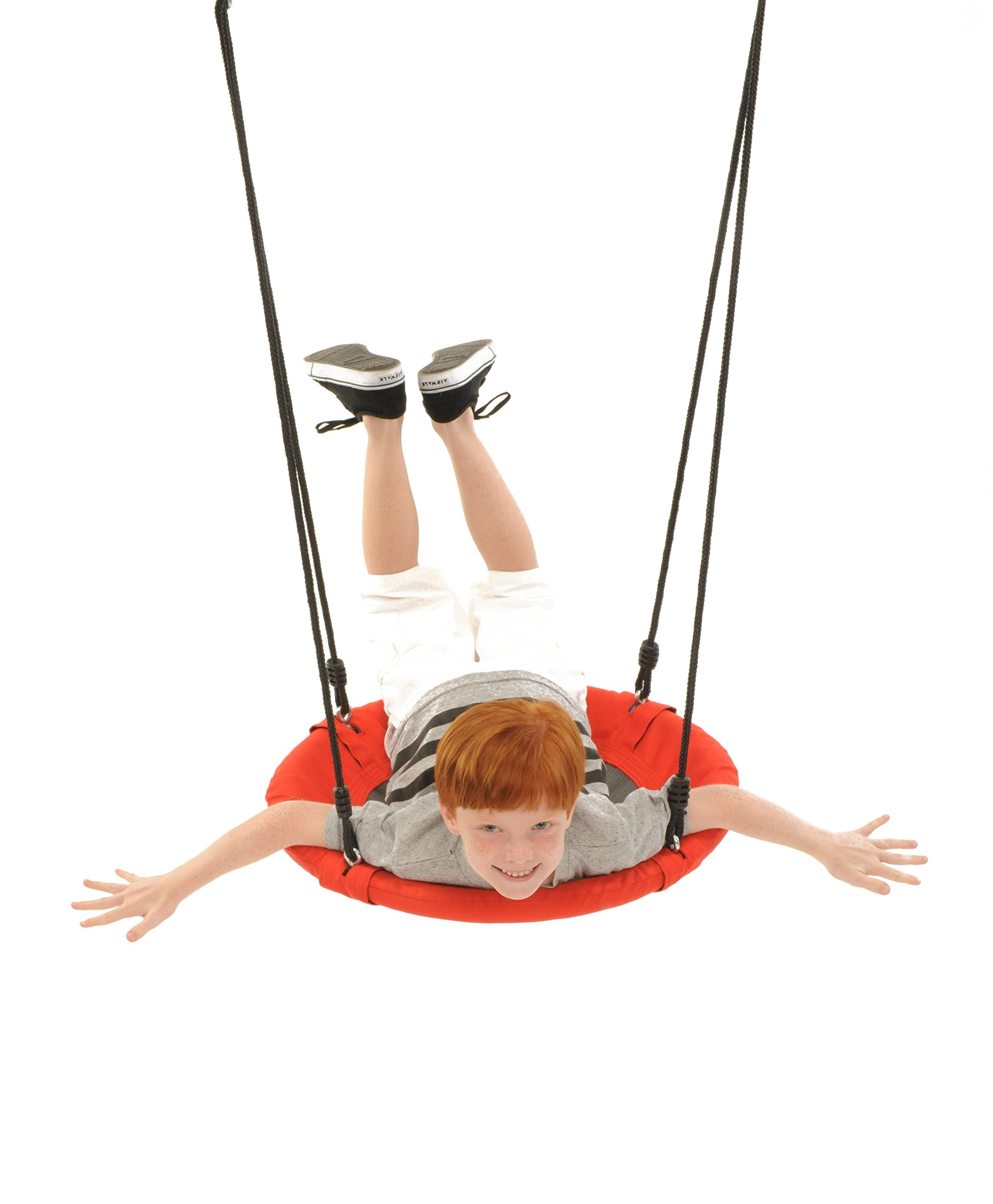 Swinging Monkey Products Fabric Saucer Spinner Swing, Red or Gray - Fun! Easy Install on Swing Set or Tree, Nylon Rope with Padded Steel Frame by Swinging Monkey Products (Image #2)