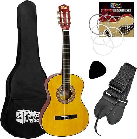 Mad About Guitarra clásica española con bolsa de transporte, correa, púa y cuerdas de repuesto: Amazon.es: Instrumentos musicales