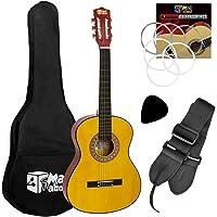 Guitarra clásica Mad About – Colorida guitarra española con bolsa de transporte, correa, púa y cuerdas de repuesto