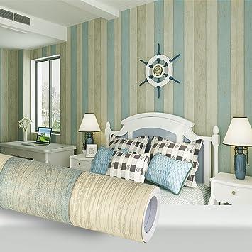 KINLO® Tapeten Wand Wohnzimmer 3D 5mx0.53m Holz Modell Tapeten Vlies Blau  Schalfzimmer Modern