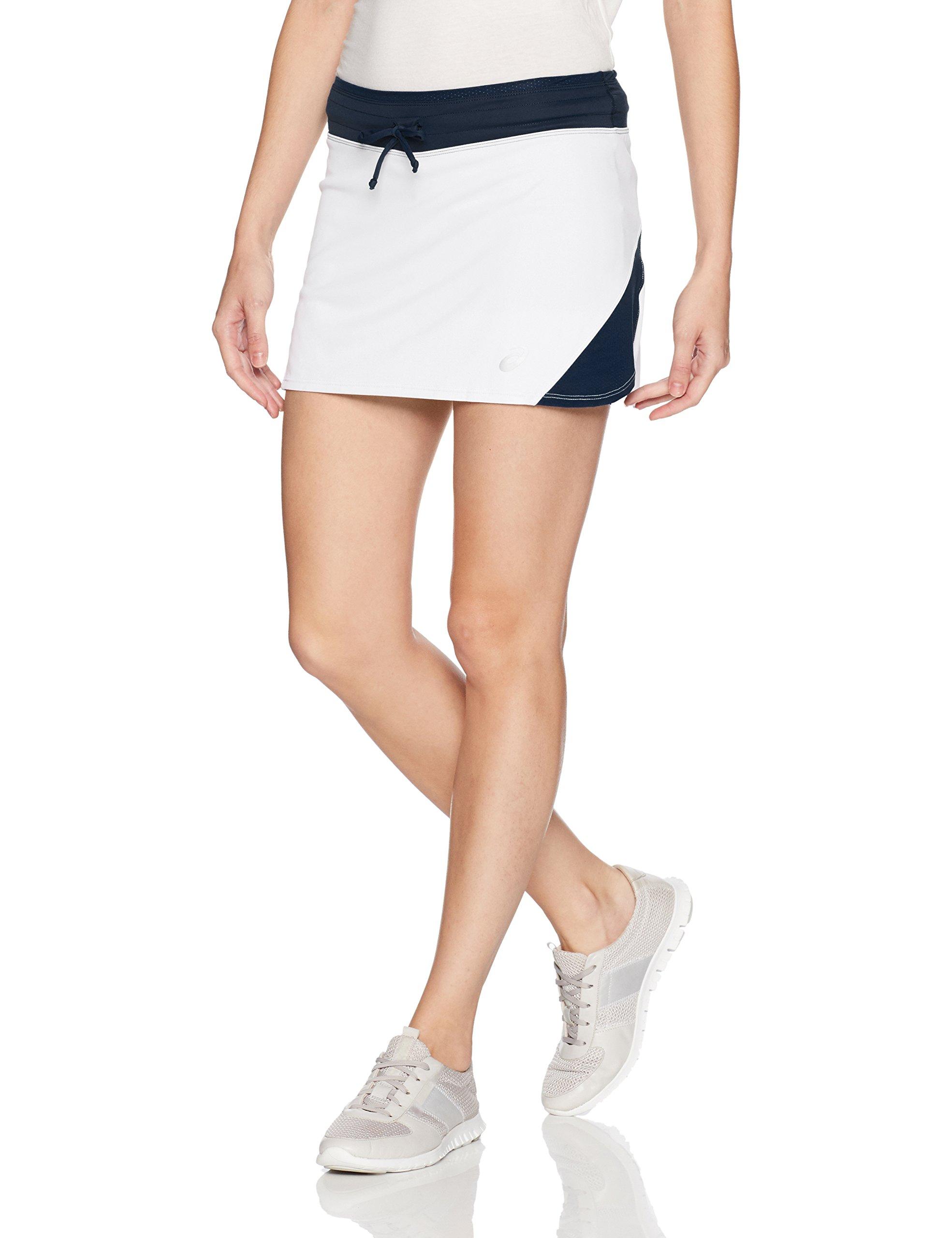 ASICS Women's Spin Slice Skort, White/Navy, Small