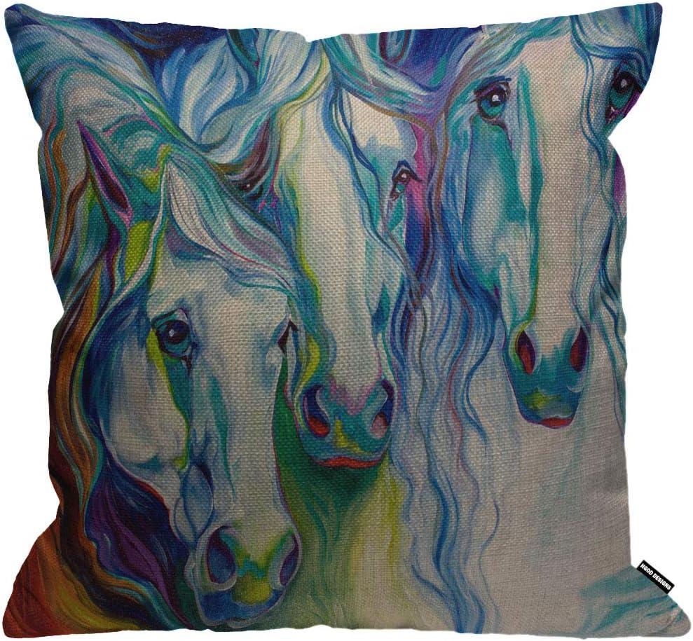 Funda de cojín HGOD DESIGNS para 3 caballo-juntos, funda de almohada, decoración para el hogar para hombres, mujeres, niños, niñas, sala de estar, dormitorio, sofá, silla, 45 x 45 cm