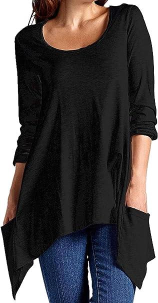 Amrto Damen Langarm Tunika Asymmetrisch Farbblock T-Shirt Bluse Rundhals Longshirt Casual Oberteile Tops