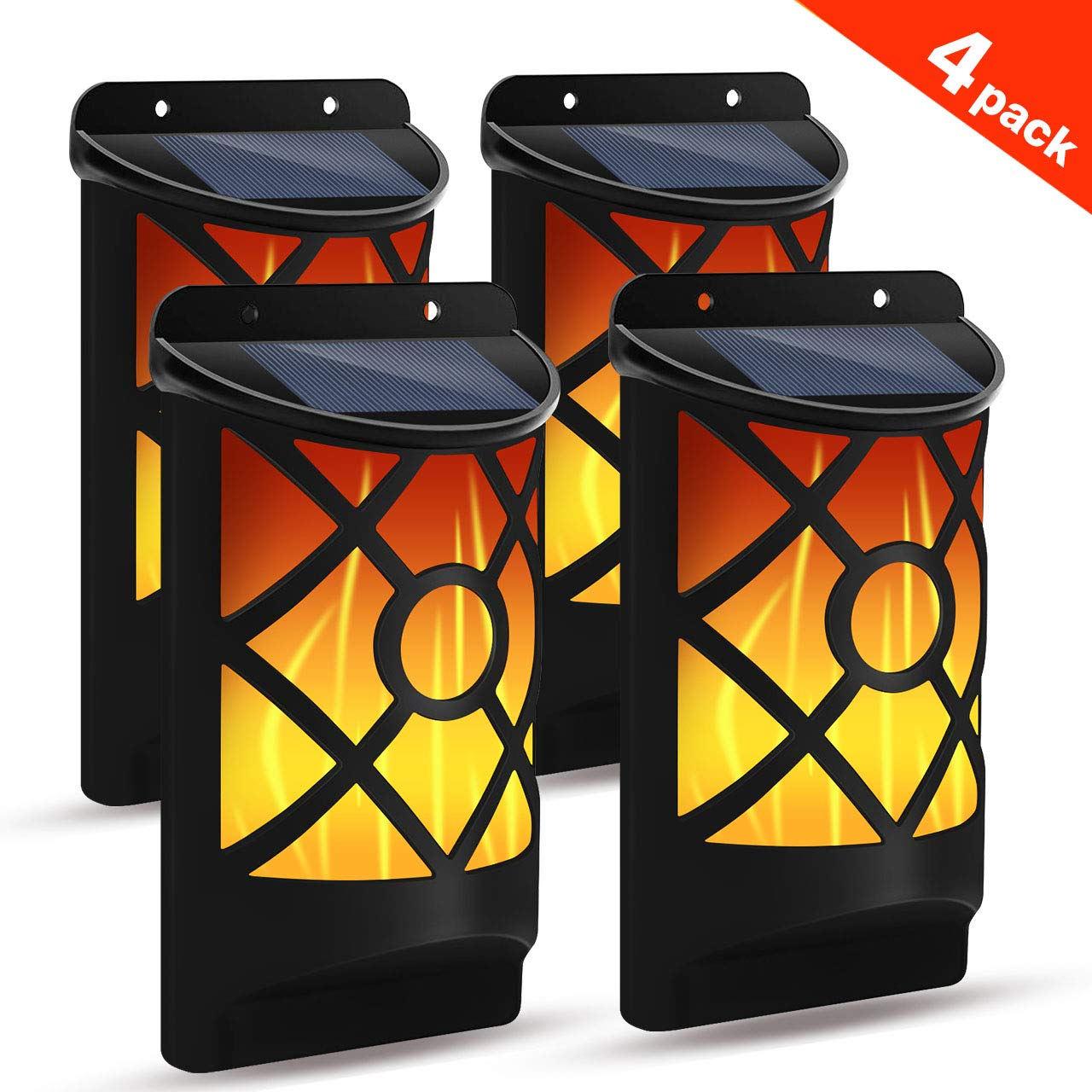 Solar Flame Lights Outdoor, Flickering Flame Wall Lights Outdoor Solar Spotlights Landscape Decoration Lighting Dusk to Dawn Auto On/Off 66 LEDWaterproof Solar Powered Wall Lights Garden (4 Pack) by YUJENY