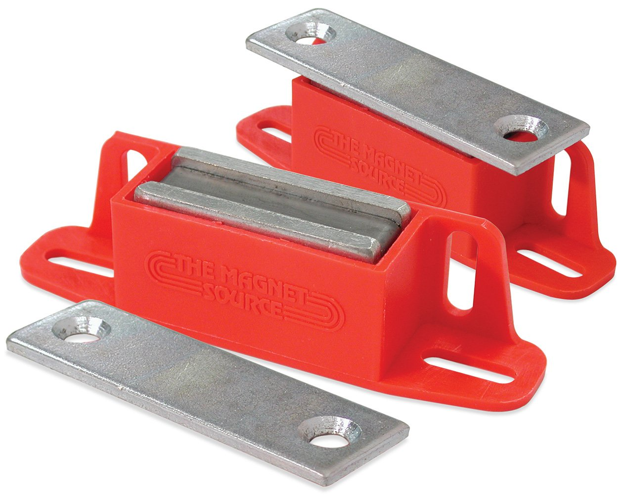 Master Magnetics 07502X2 Magnet Catch, Universal Latch with Strike-Plate, 2-Way Mounting Red, 4.25'' Length, 0.938'' Width, 1.125'' Height, 50 Pounds (Pack of 2)
