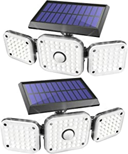 JOMARTO Solar Motion Lights Outdoor,3 Head Security Lights with Motion Sensor,Adjustable 112 LED Flood Lights Waterproof270° Wide Angle Security Lights for Porch Garden Patio Yard Backyard (2 Pack)