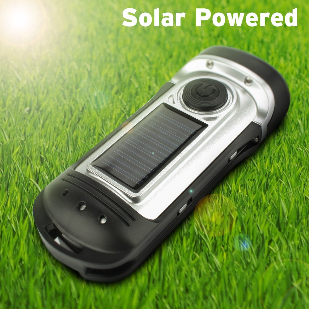 Thorfire Solar Flashlight Hand Crank Solar Powered Rechargeable Flashlight IPX6 Waterproof LED Emergency Flashlights Lights Dynamo Torch Ideal Camping Outdoor Climbing Backpack Hiking by Thorfire (Image #4)