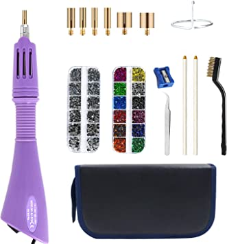 1 Tweezers /& 2 Pencils and 1Pack Hot-Fix Crystal Rhinestones Hotfix Applicator Hot Fix Rhinestone Applicator Wand Setter Tool Kit with 7 Different Sizes Tips and Support Stand 5060 Stones