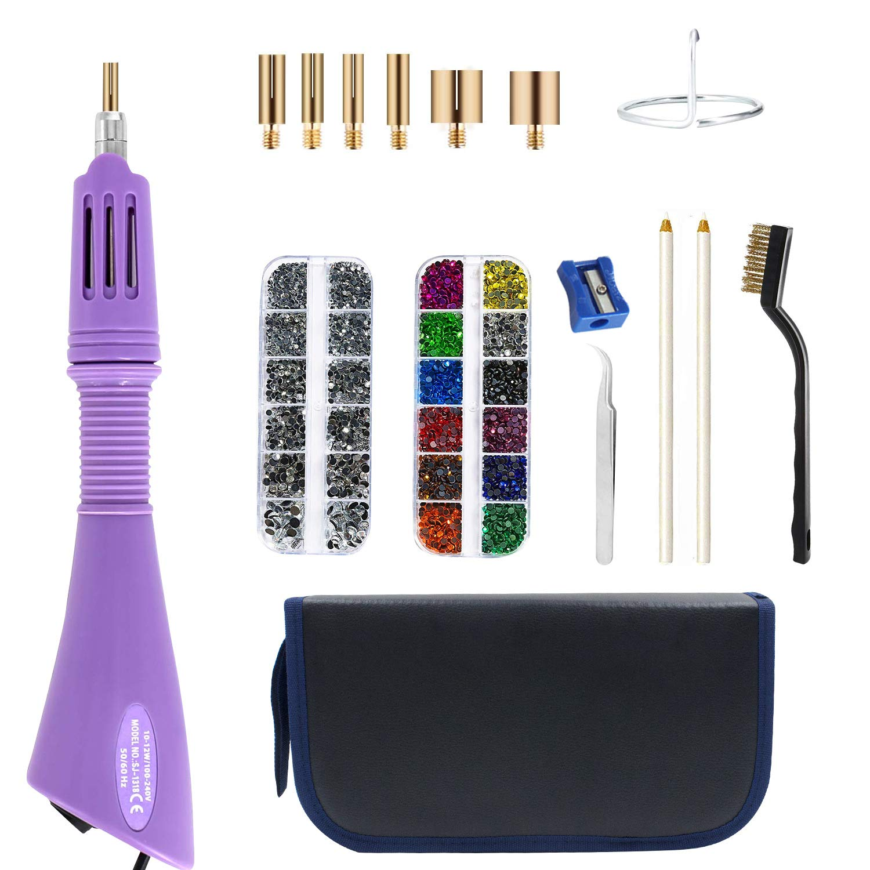 Hotfix Rhinestones, DIY Hot Fix Rhinestone Setter Applicator Wand Tool Kit Set with 7 Tips, Tweezers & Brush Cleaning kit, 1 Support Stand, 2 Pencils, Hot-Fix Crystal Rhinestones 12 Colors Rh(TZQ-16) by RUIWING