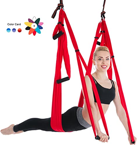 Ranbo Yoga Inversion Swing – Anti-Gravity Aerial Trapeze – Flying Hammock Sling – Relieves Back Pains, Improves Your Strength, Balance, Flexibility and Endurance