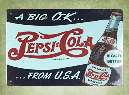 QDTrade Cartel de Metal de 20 x 30 cm - A Big O.K Pepsi-Cola ...