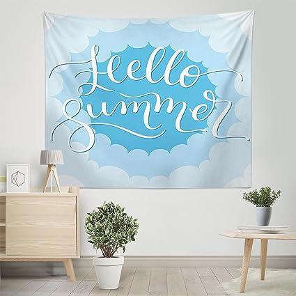 Amazoncom Mugod Tapestry Hello Summer Vintage Cloud Sky