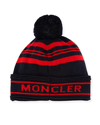 64840c21cda1ea Moncler Men's Blue Red Striped Pom Pom Hat at Amazon Women's ...