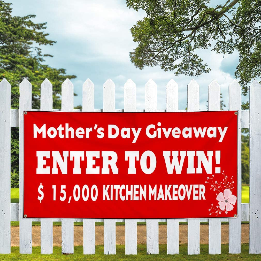 Custom Vinyl Banner Sign Multiple Sizes Mothers Day Giveaway Red Business Personalized Marketing Advertising Red 10 Grommets 60inx144in One Banner