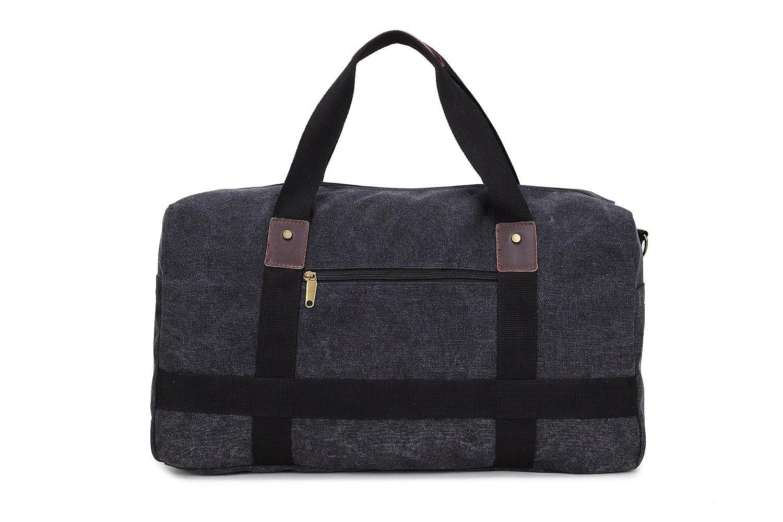 66a394f73 Toupons 21'' Canvas Travel Duffle Bag for Men Women Weekender Bag Overnight  Bag (Black)