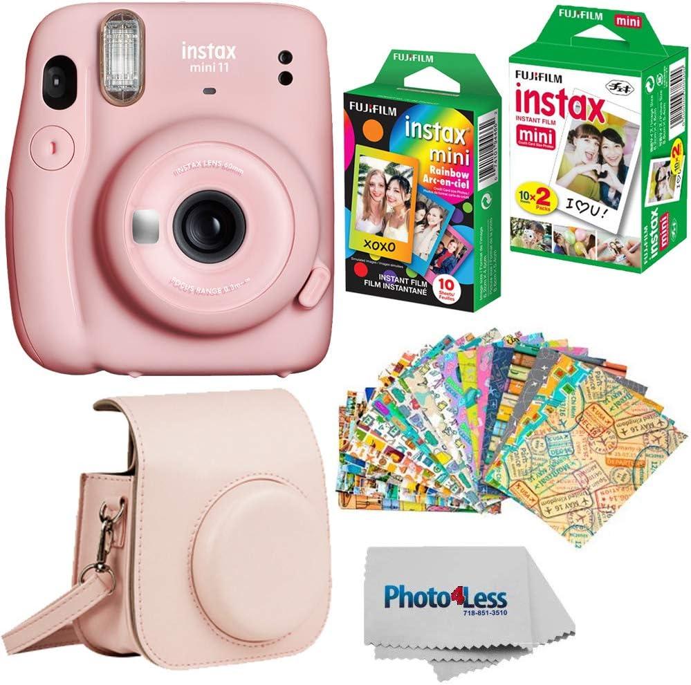 Fujifilm Instax Mini 11 Instant Camera - Blush Pink (16654774) + Fujifilm Instax Mini Twin Pack Instant Film (16437396) + Single Pack Rainbow Film + Case + Travel Stickers