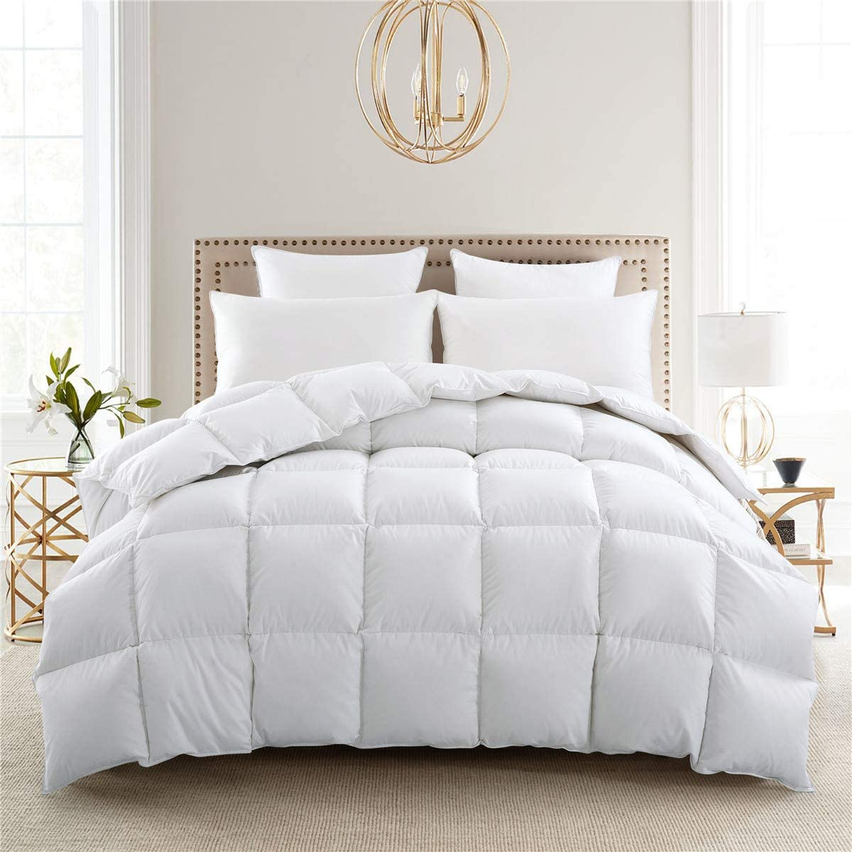 puredown Lightweight Warmth Duvet Insert Down Comforter, Light Full/Queen