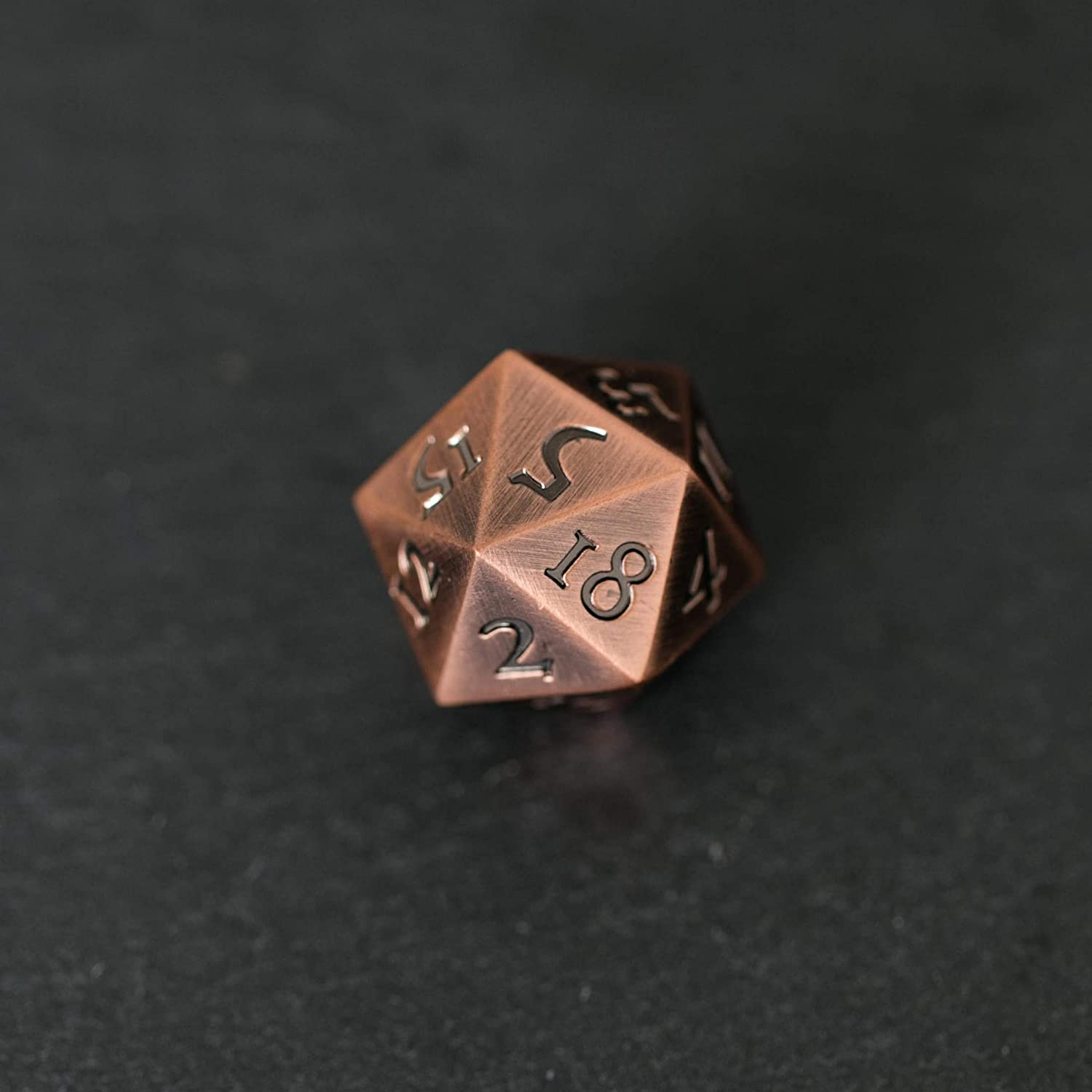 KakapopoTCG Extra Large Solid Metal D20 Standard Dice in Copper Bronze Finish 20 face Extra Heavy DND Dice Pathfinder Dungeons and Dragons