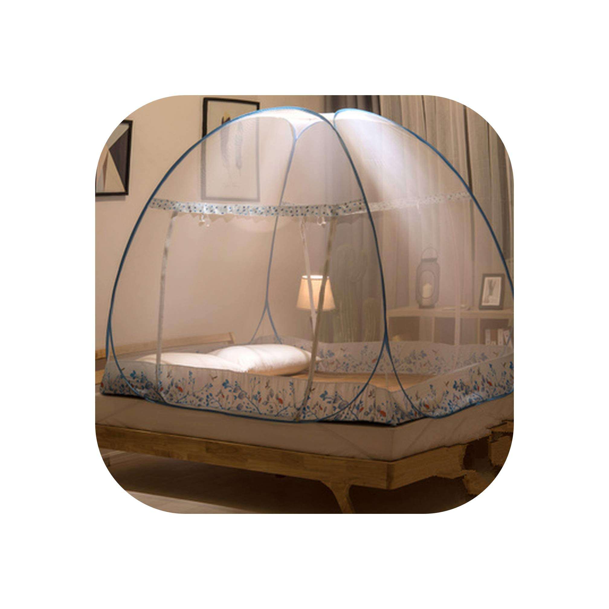 Folding Round Dome Mosquito Net Bed Tent for Adults Bed Canopy Mesh Anti Mosquito Insect Bed Canopy,Blue,1.5m (5 feet) Bed