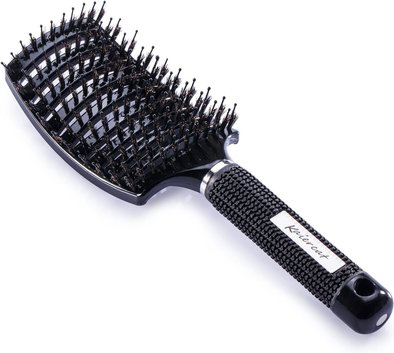Kaiercat Cepillo De Cerdas De Jabalí-Lo mejor en desenredar el cabello grueso ventilado para un secado más rápido: cerdas de jabalí 100% naturales para la distribución del aceite capilar (negro)