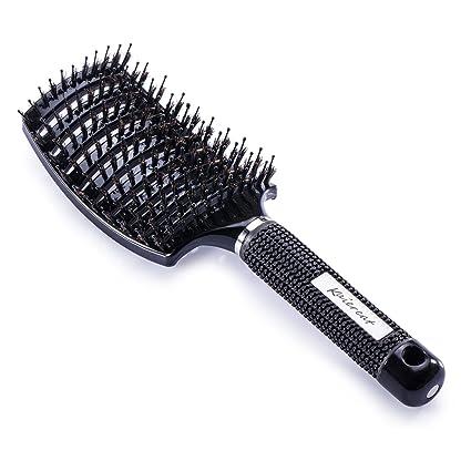 Cepillo Kaiercat de cerdas de jabalí, mejor en desenredar cabello grueso, ventilado para un