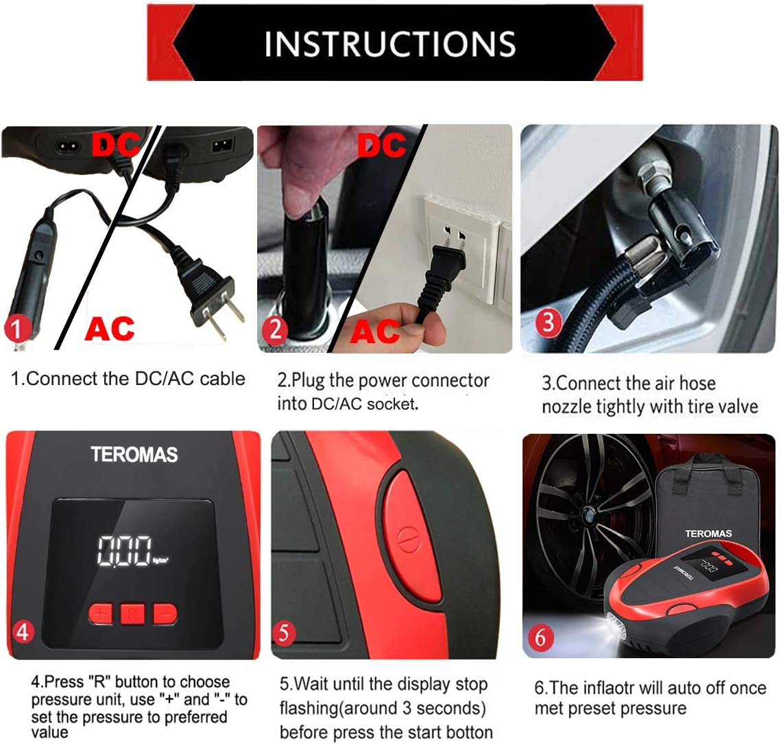 Teromas Portable DC/AC Air Pump for Car Tires 12V DC and Other ...