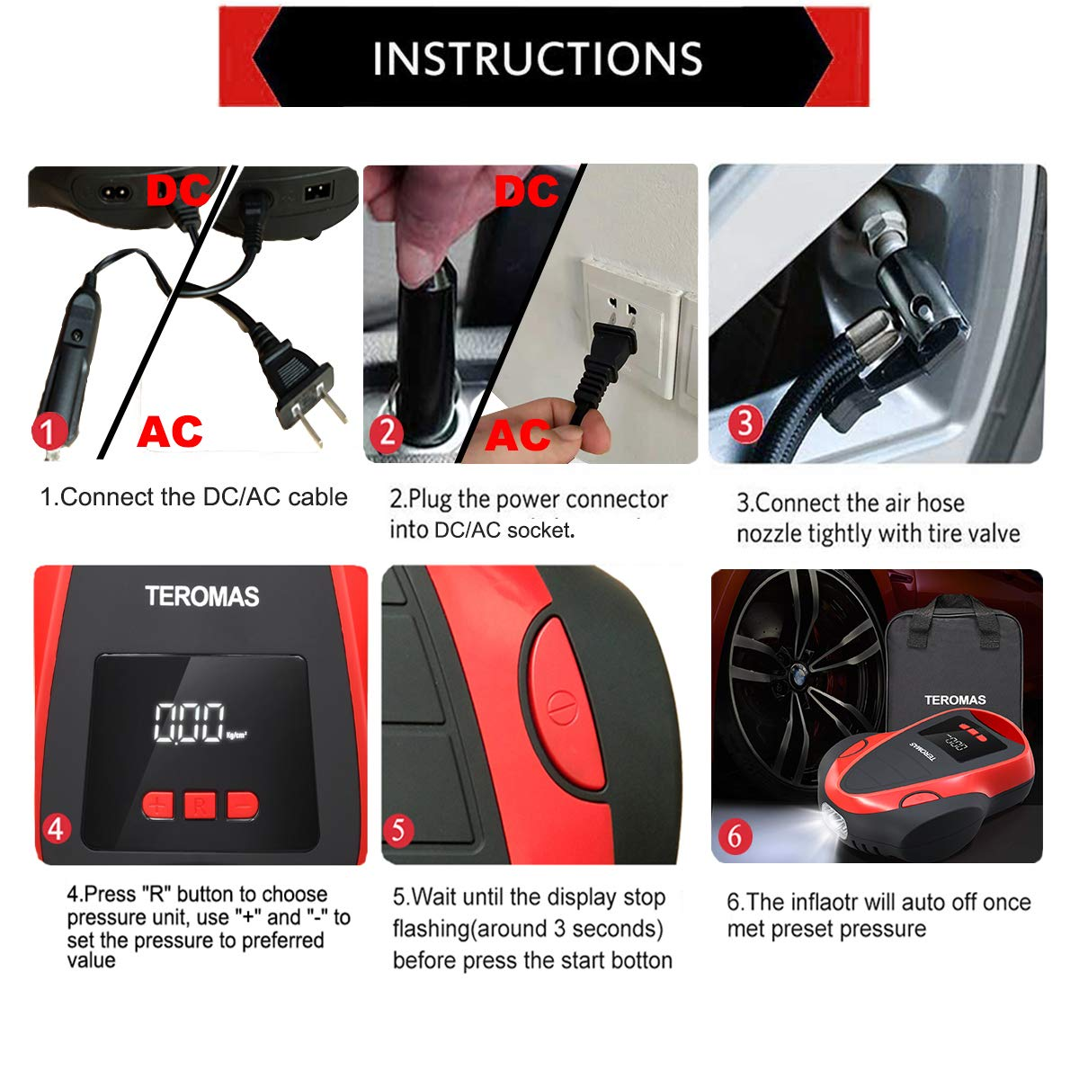 TEROMAS Tire Inflator Air Compressor Portable DC//AC Air Pump for Car Tires 12V DC and Other Inflatables at Home 110V AC Digital Electric Tire Pump with Pressure Gauge