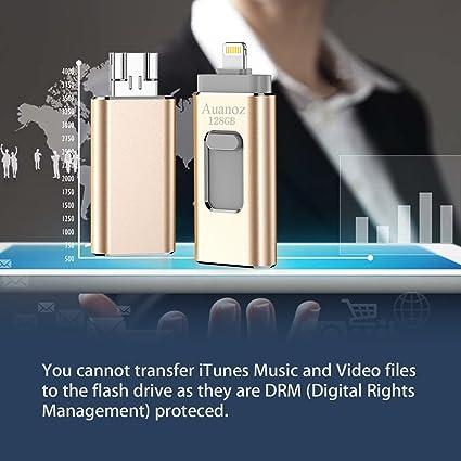 Auanoz iOS Flash Drives Memory Stick para iPhone 128 GB, Memory Stick para La Expansión del Adaptador De Almacenamiento Externo para iPod/iPhone/iPad/Android y Computadoras (Oro): Amazon.es: Informática