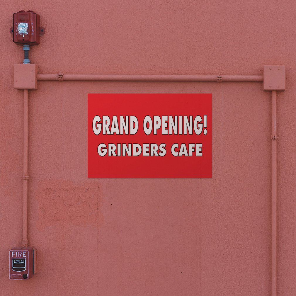 Decal Sticker Multiple Sizes Grand Opening 69inx46in One Sticker Grinders Cafe Business Grand Opening Outdoor Store Sign Red