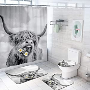 Coxila Funny Cow Shower Curtain Sets Bath Mat 4 Pcs Decor Bathroom Highland Bull Farm Western Rural Daisy Flower Contour Mat Toilet Lid Cover U Shaped Non-Slip Rug Fabric Polyester 60x72 Inch