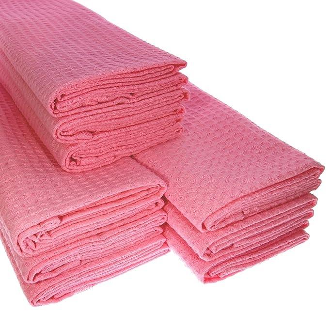 Küchentuch 9x Geschirrtuch Putztuch Poliertuch aus 100/% Baumwolle rosa pink