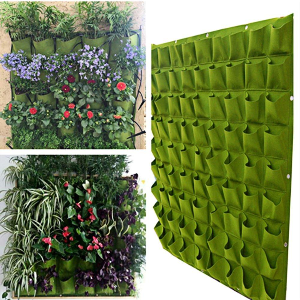 72 Pocket Outdoor Indoor Wall Balcony Herbs Vertical Garden Hanging Planter Bag (Green) AHG