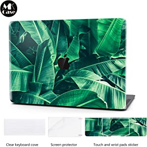 Laptop Case for MacBook Air 13.3 Inch Keyboard Cover Plastic Hard Shell Touch Bar 4 in 1 Bundle with Screen Protector Compatible for MacBook Air 13 Inch (Model:A1369/A1466), Tropical Banana Leaf