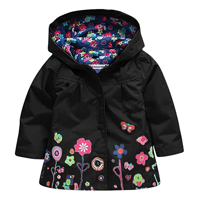 free delivery most reliable get online Kids Baby Girl Waterproof Hooded Rain Jacket Floral Print ...