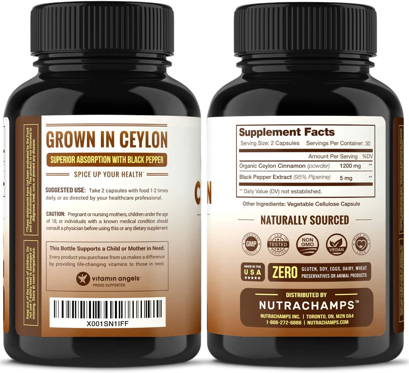Organic Ceylon Cinnamon Capsules – 1200mg Powder for Healthy Blood Sugar, Joint Support, Anti-inflammatory Antioxidant Benefits – Made from True Cinnamon Bark from Sri Lanka