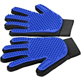 Pet Grooming Gloves - Gentle Deshedding Brush - Efficient Pet Hair Remover Mitt - Enhanced Five Finger Design - Perfect for Dog & Cat with Long & Short Fur,1 Pair
