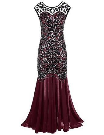 PrettyGuide Damen Abendkleid 20er Jahre Kleid Pailletten Gatsby Maxi Langes Ballkleid