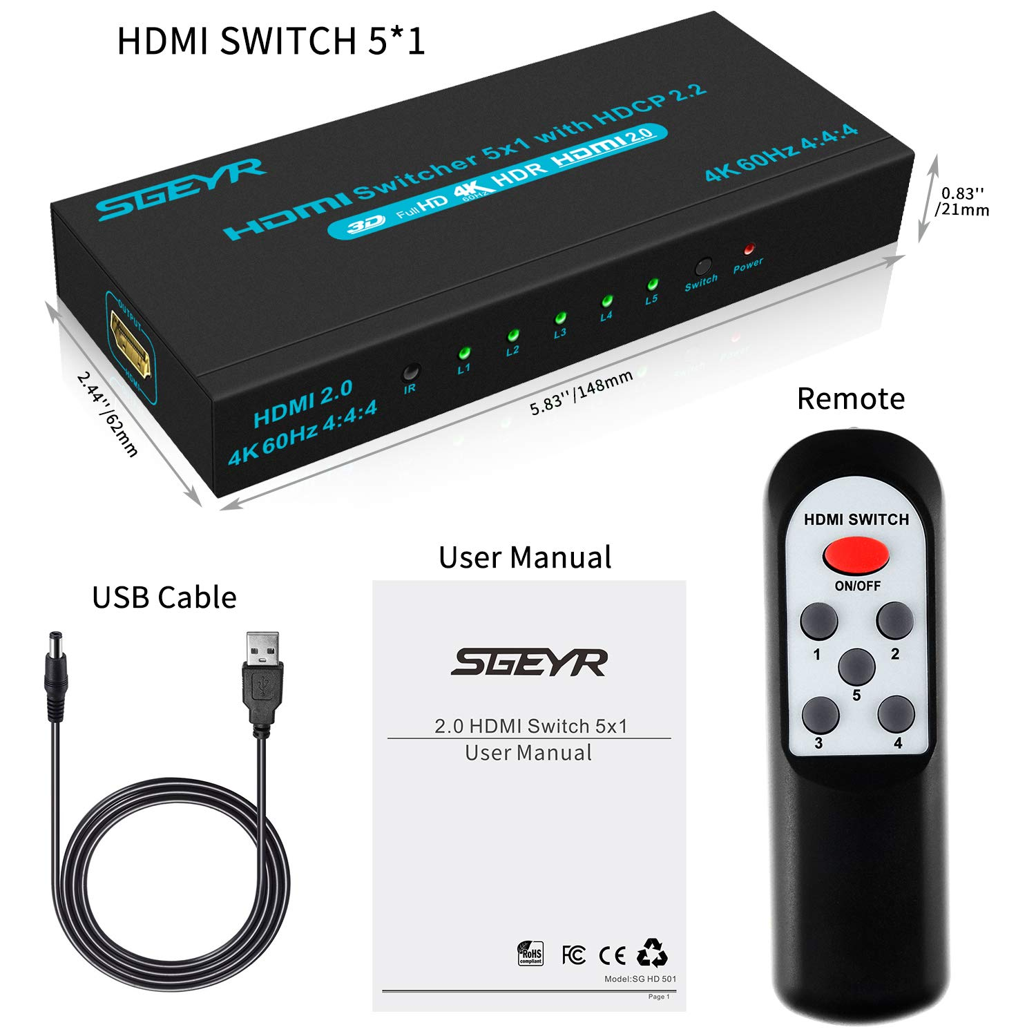 SGEYR 4K@60Hz 5x1 HDMI Switch HDMI Selector Switch 5 Port HDR IR Remote 4K HDMI Selector Box 5 in 1 Out Auto Switch HDMI Switcher 2.0 HDCP 2.2,Full HD/3D Compatible with /PS4/DVD//Xbox/Projector by SGEYR