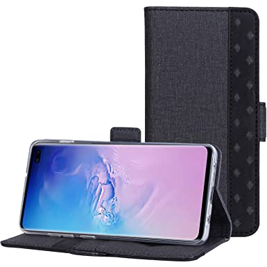 ProCase Funda Cartera para Samsung Galaxy S10 Plus, Carcasa Folio con Ranuras de Tarjeta y Soporte, Funda Billetera para Galaxy S10 Plus 2019 -Negro