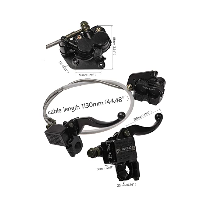 ZXTDR Rear Disc Hydraulic Brake Assembly Caliper Master Cylinder for Moped Scooter Motorcycle