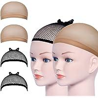 URAQT Pruik Cap, pruik kapjes, caps, nylon, haarnet, rekbaar, zwart, mesh en neutraal nek, beige, elastisch net…