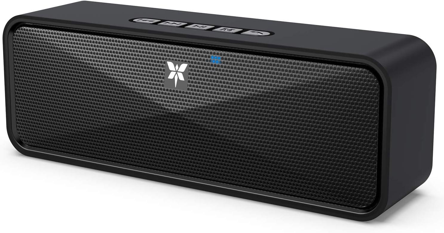 Altavoz Bluetooth Portátil, Axloie Caja Inalámbrica Bluetooth 5.0 Sonido Excelente Estéreo con Micrófono Manos Libres Llamada USB TF Tarjeta Conexión AUX 10 Horas de Reproducción para iPhone y Android