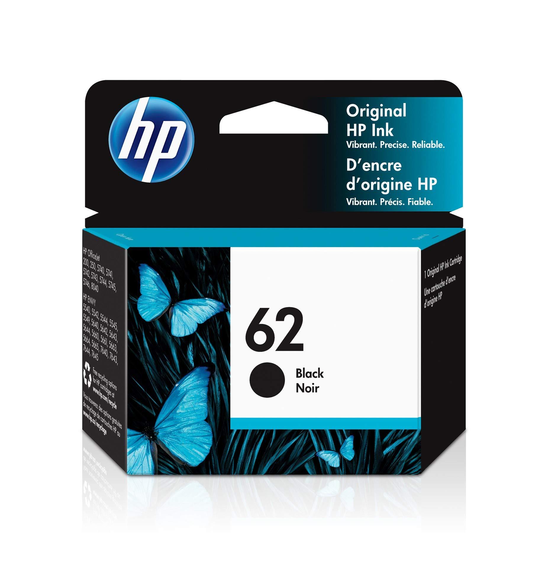 HP 62 | Ink Cartridge | Works with HP ENVY 5500 Series, 5600 Series, 7600 Series, HP Officejet 200, 250, 258, 5700 Series, 8040 | Black | C2P04AN