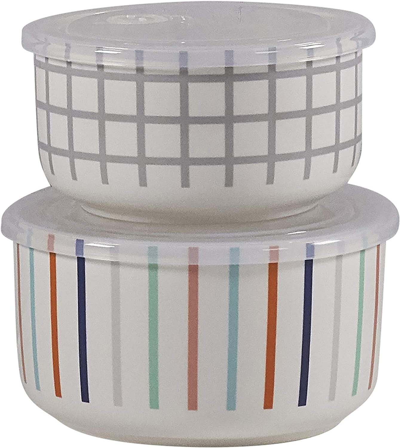 Set of 2 Microwaveable Bowls with Lids by CIROA | Stripe & Grid Design Microwave Me