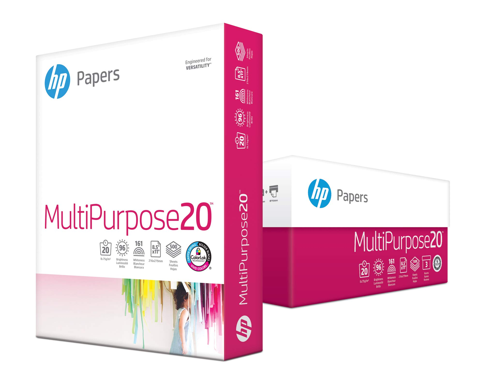 HP Printer Paper, Multipurpose20, 8.5 x 11, 20lb, 96 Bright, 1,500 Sheets / 3 Ream Carton (112530C) Made In The USA