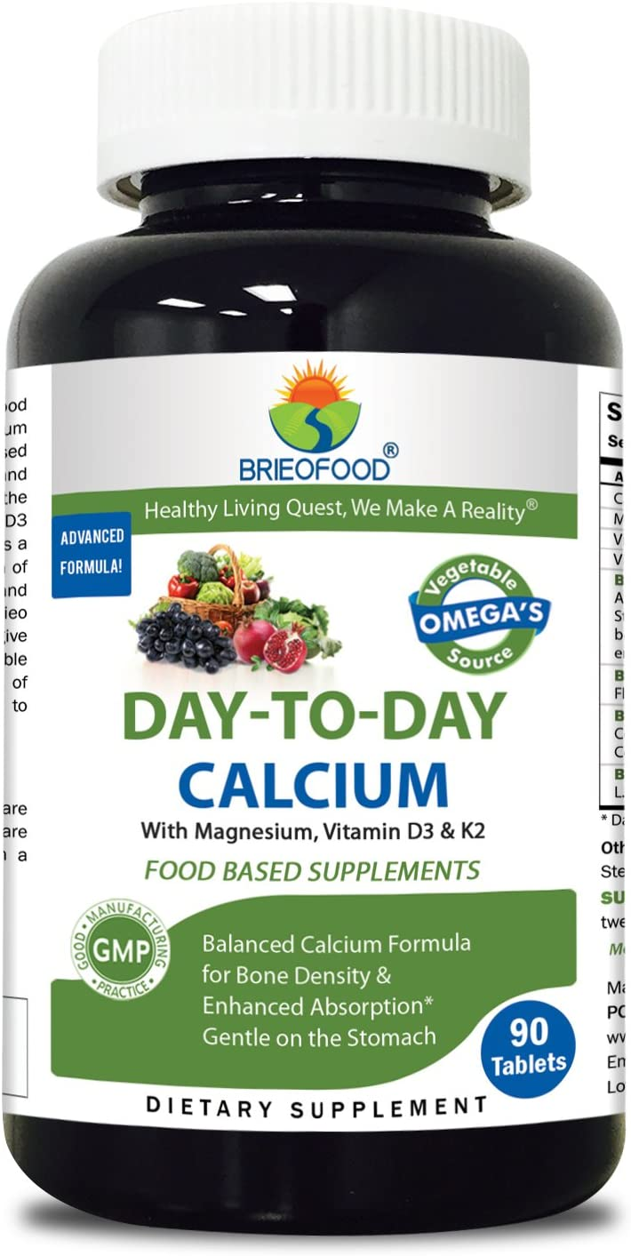 Brieofood Calcium 90 Tablets, Food Based Daily Calcium Supplement Made with Vegetable Source Omegas, probiotics and Herbal Blends